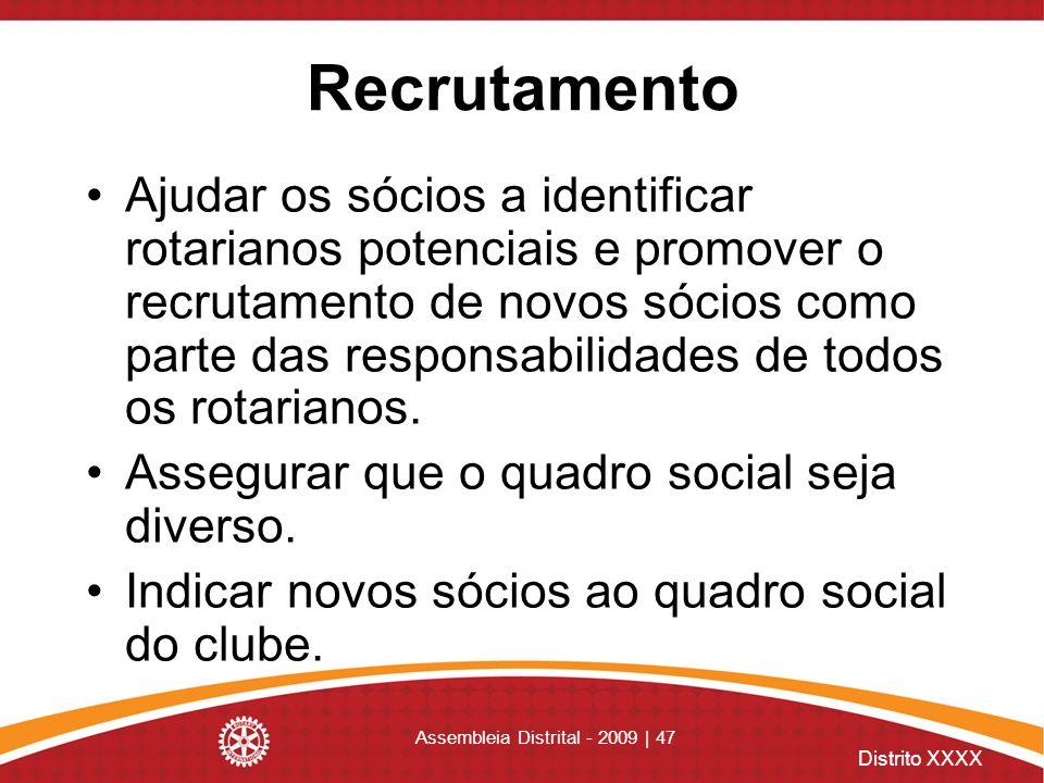 Distrito XXXX Assembleia Distrital - 2009 | 47 Recrutamento Ajudar os sócios a identificar rotarianos potenciais e promover o recrutamento de novos só