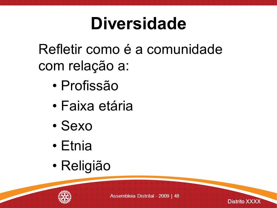 Distrito XXXX Assembleia Distrital - 2009 | 48 Diversidade Refletir como é a comunidade com relação a: Profissão Faixa etária Sexo Etnia Religião