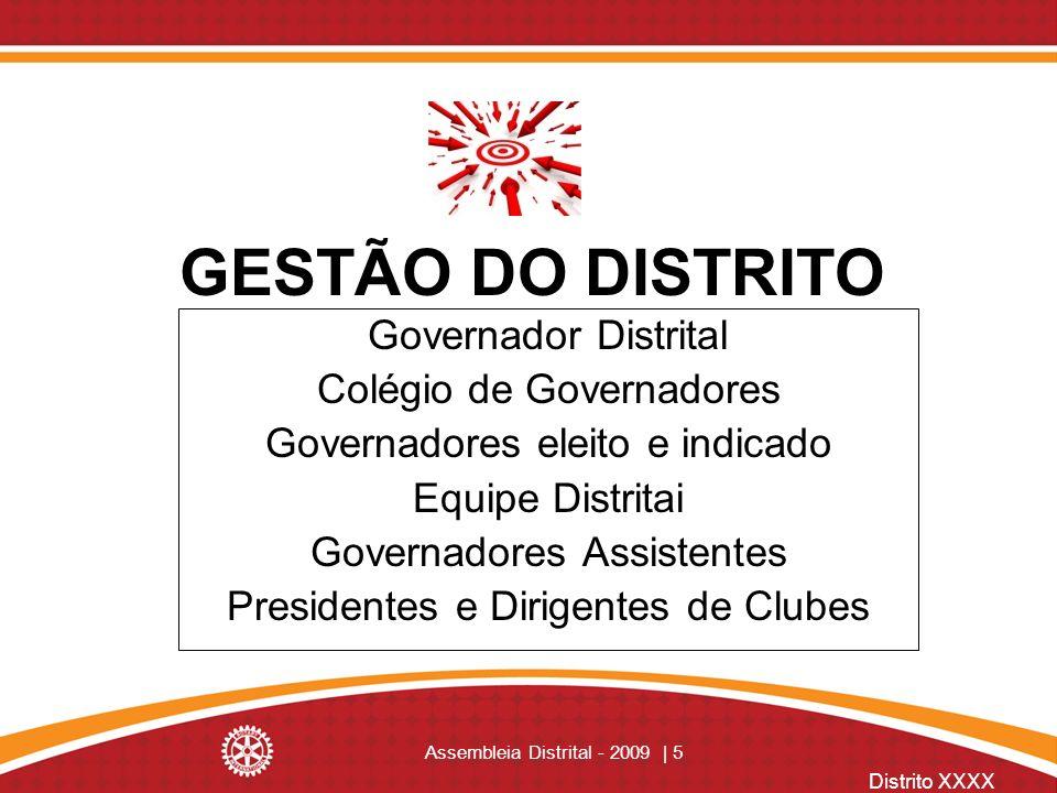 Distrito XXXX Assembleia Distrital - 2009 | 5 GESTÃO DO DISTRITO Governador Distrital Colégio de Governadores Governadores eleito e indicado Equipe Di