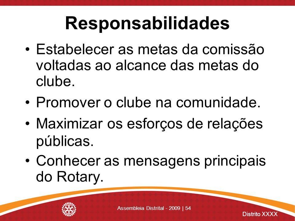 Distrito XXXX Assembleia Distrital - 2009 | 54 Responsabilidades Estabelecer as metas da comissão voltadas ao alcance das metas do clube. Promover o c