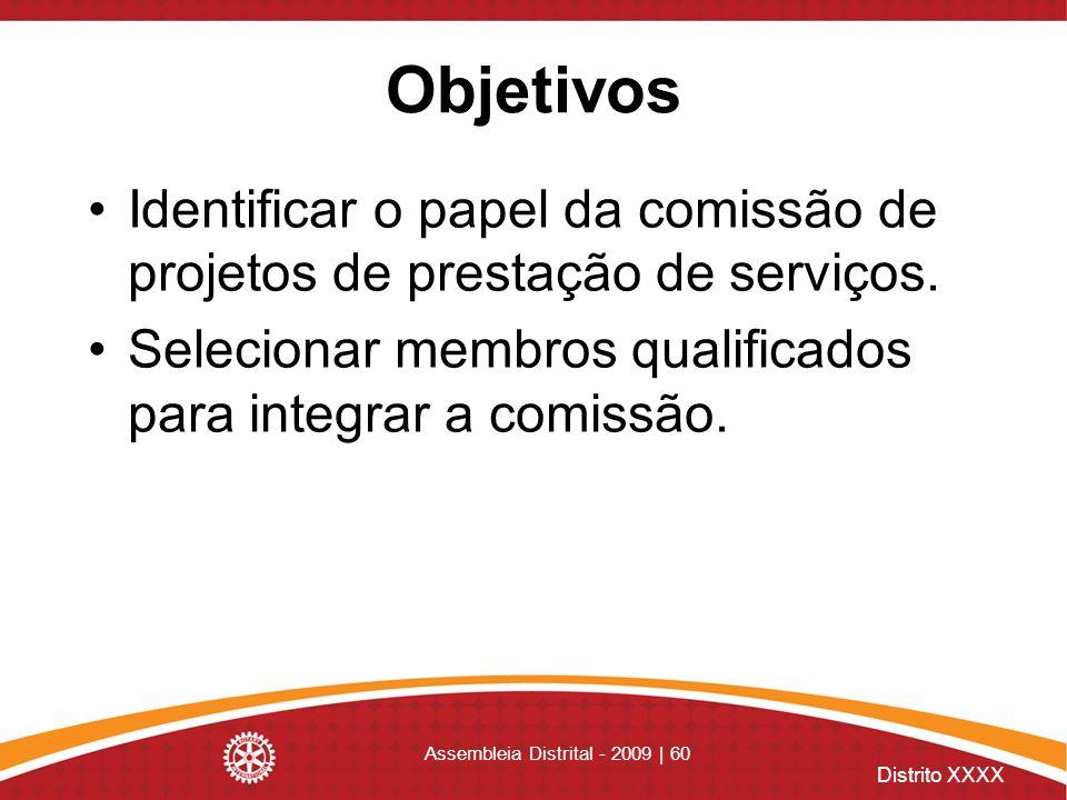 Distrito XXXX Assembleia Distrital - 2009 | 60 Objetivos Identificar o papel da comissão de projetos de prestação de serviços. Selecionar membros qual