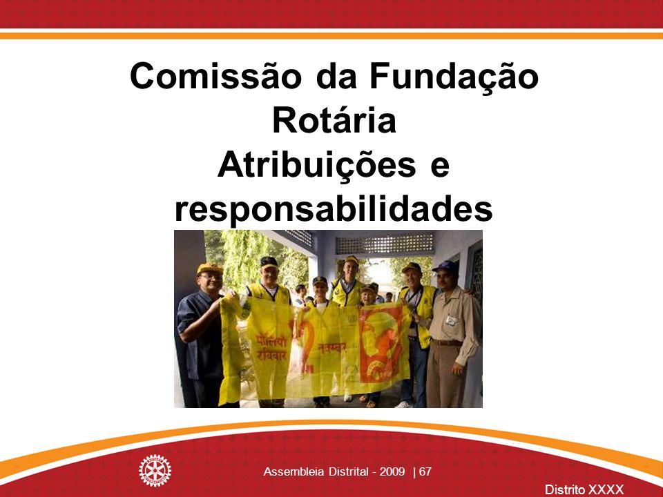 Distrito XXXX Assembleia Distrital - 2009 | 67 Comissão da Fundação Rotária Atribuições e responsabilidades