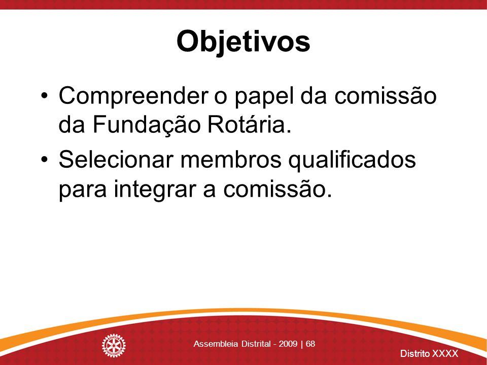 Distrito XXXX Assembleia Distrital - 2009 | 68 Objetivos Compreender o papel da comissão da Fundação Rotária. Selecionar membros qualificados para int