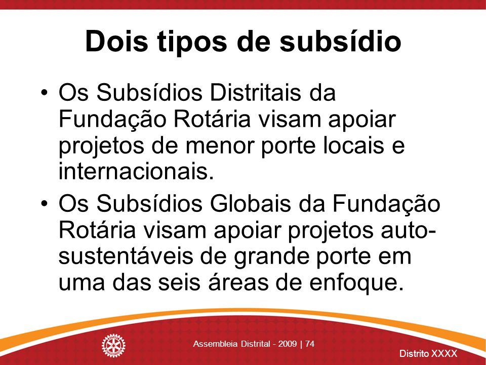 Distrito XXXX Assembleia Distrital - 2009 | 74 Dois tipos de subsídio Os Subsídios Distritais da Fundação Rotária visam apoiar projetos de menor porte