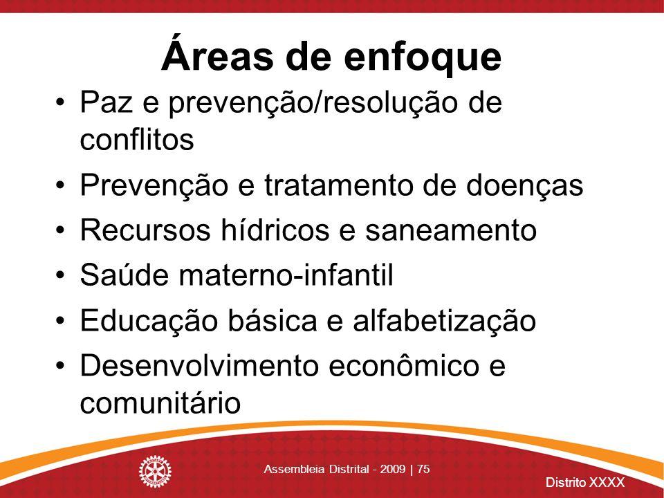 Distrito XXXX Assembleia Distrital - 2009 | 75 Áreas de enfoque Paz e prevenção/resolução de conflitos Prevenção e tratamento de doenças Recursos hídr