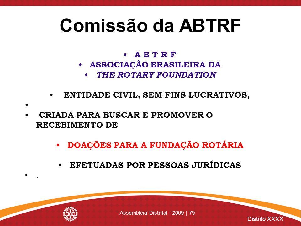Distrito XXXX Assembleia Distrital - 2009 | 79 Comissão da ABTRF A B T R F ASSOCIAÇÃO BRASILEIRA DA THE ROTARY FOUNDATION ENTIDADE CIVIL, SEM FINS LUC