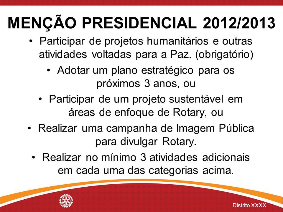 Distrito XXXX MENÇÃO PRESIDENCIAL 2012/2013 Participar de projetos humanitários e outras atividades voltadas para a Paz. (obrigatório) Adotar um plano