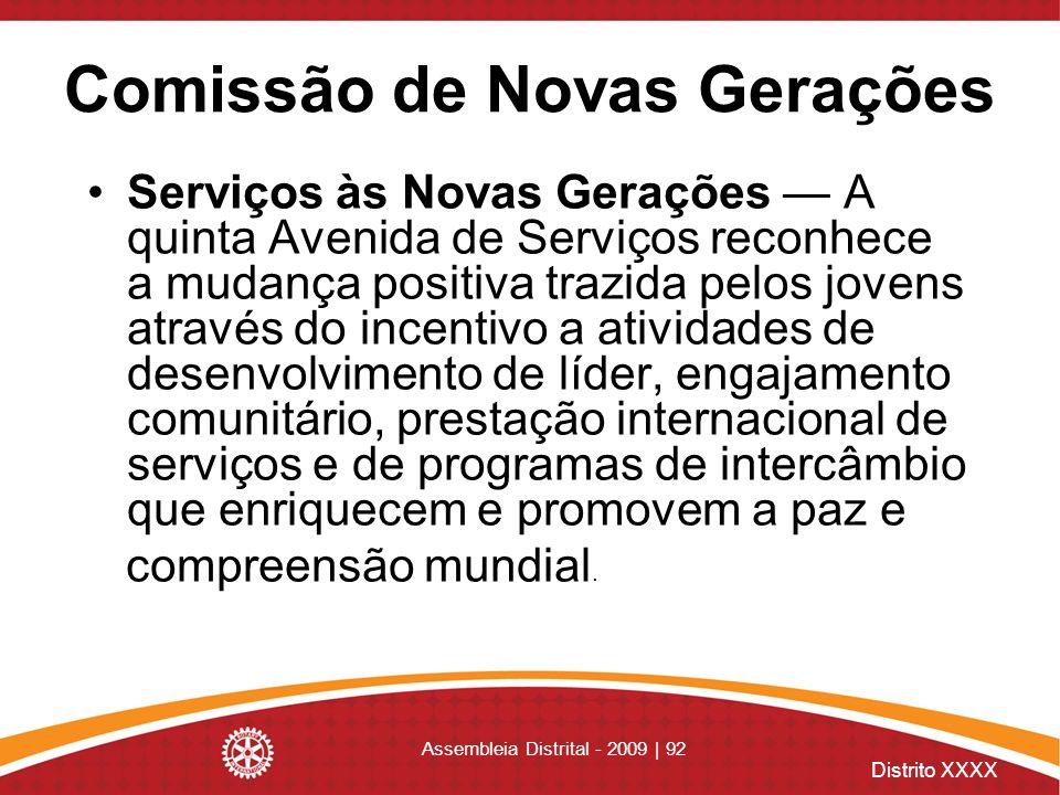 Distrito XXXX Assembleia Distrital - 2009 | 92 Comissão de Novas Gerações Serviços às Novas Gerações A quinta Avenida de Serviços reconhece a mudança