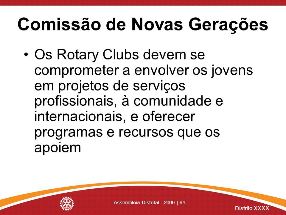 Distrito XXXX Assembleia Distrital - 2009 | 94 Comissão de Novas Gerações Os Rotary Clubs devem se comprometer a envolver os jovens em projetos de ser