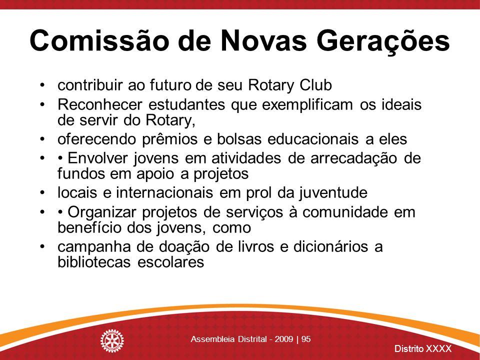 Distrito XXXX Assembleia Distrital - 2009 | 95 Comissão de Novas Gerações contribuir ao futuro de seu Rotary Club Reconhecer estudantes que exemplific