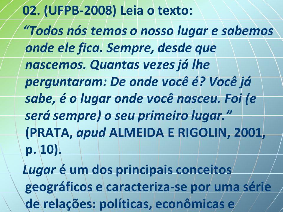 02.(UFPB-2008) Leia o texto: Todos nós temos o nosso lugar e sabemos onde ele fica.
