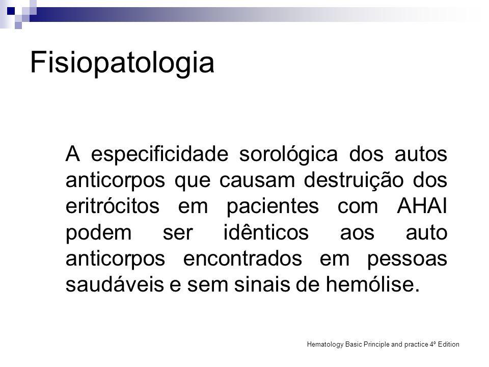 Fisiopatologia A especificidade sorológica dos autos anticorpos que causam destruição dos eritrócitos em pacientes com AHAI podem ser idênticos aos au