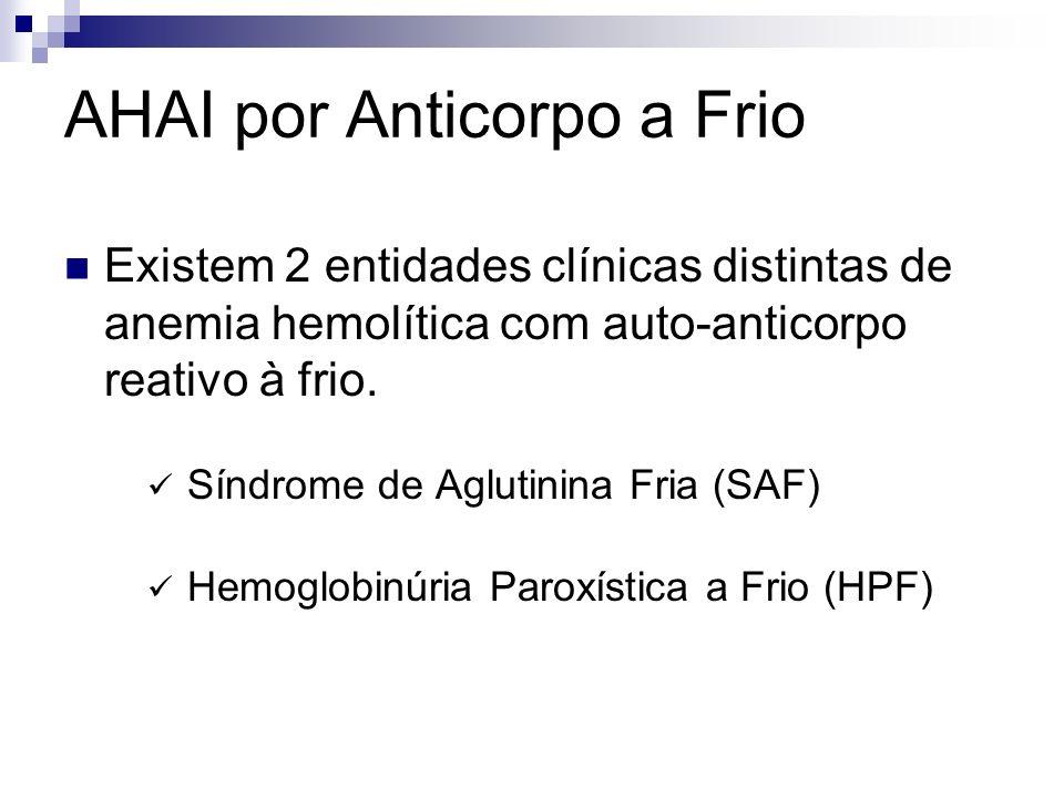 AHAI por Anticorpo a Frio Existem 2 entidades clínicas distintas de anemia hemolítica com auto-anticorpo reativo à frio. Síndrome de Aglutinina Fria (