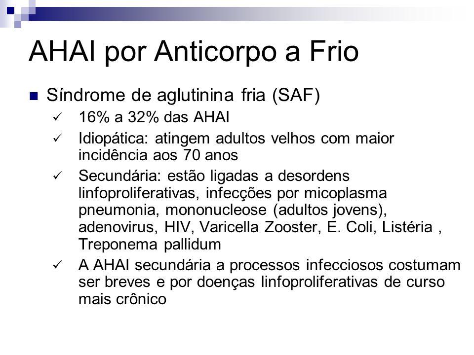AHAI por Anticorpo a Frio Síndrome de aglutinina fria (SAF) 16% a 32% das AHAI Idiopática: atingem adultos velhos com maior incidência aos 70 anos Secundária: estão ligadas a desordens linfoproliferativas, infecções por micoplasma pneumonia, mononucleose (adultos jovens), adenovirus, HIV, Varicella Zooster, E.