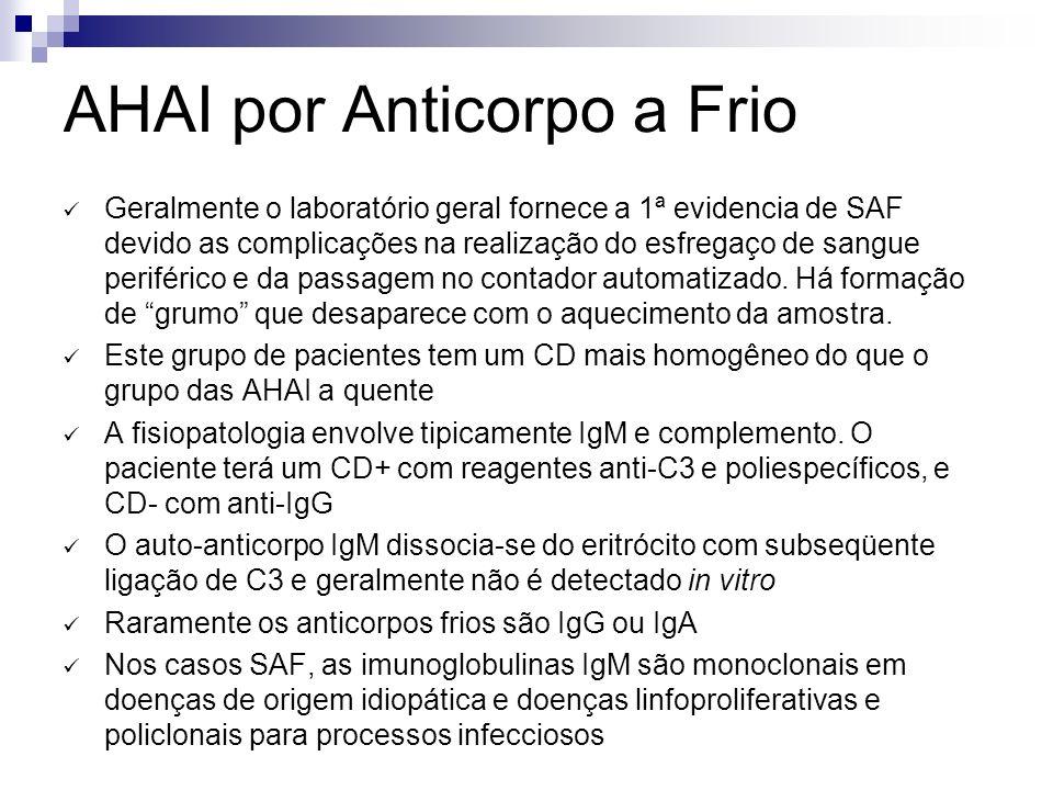 AHAI por Anticorpo a Frio Geralmente o laboratório geral fornece a 1ª evidencia de SAF devido as complicações na realização do esfregaço de sangue periférico e da passagem no contador automatizado.