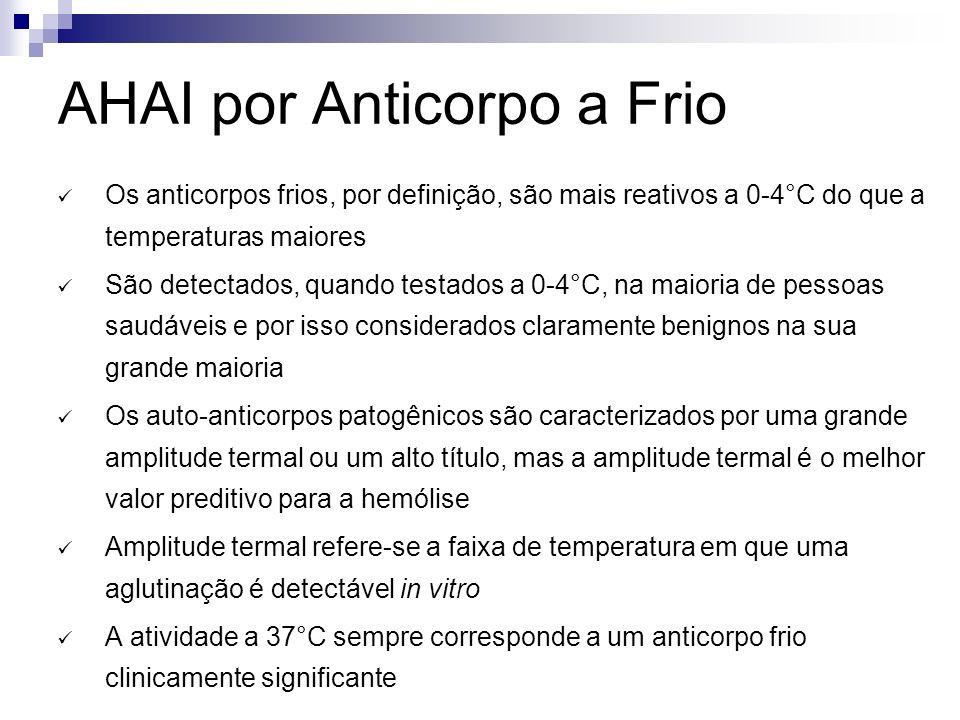 AHAI por Anticorpo a Frio Os anticorpos frios, por definição, são mais reativos a 0-4°C do que a temperaturas maiores São detectados, quando testados a 0-4°C, na maioria de pessoas saudáveis e por isso considerados claramente benignos na sua grande maioria Os auto-anticorpos patogênicos são caracterizados por uma grande amplitude termal ou um alto título, mas a amplitude termal é o melhor valor preditivo para a hemólise Amplitude termal refere-se a faixa de temperatura em que uma aglutinação é detectável in vitro A atividade a 37°C sempre corresponde a um anticorpo frio clinicamente significante