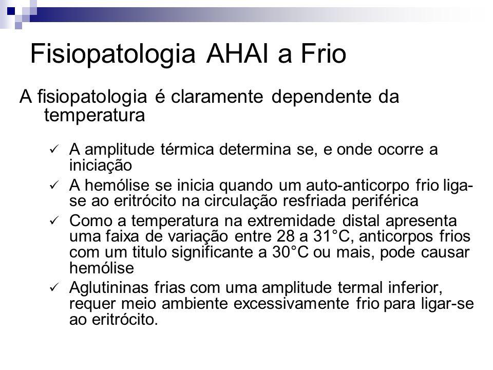 Fisiopatologia AHAI a Frio A fisiopatologia é claramente dependente da temperatura A amplitude térmica determina se, e onde ocorre a iniciação A hemólise se inicia quando um auto-anticorpo frio liga- se ao eritrócito na circulação resfriada periférica Como a temperatura na extremidade distal apresenta uma faixa de variação entre 28 a 31°C, anticorpos frios com um titulo significante a 30°C ou mais, pode causar hemólise Aglutininas frias com uma amplitude termal inferior, requer meio ambiente excessivamente frio para ligar-se ao eritrócito.