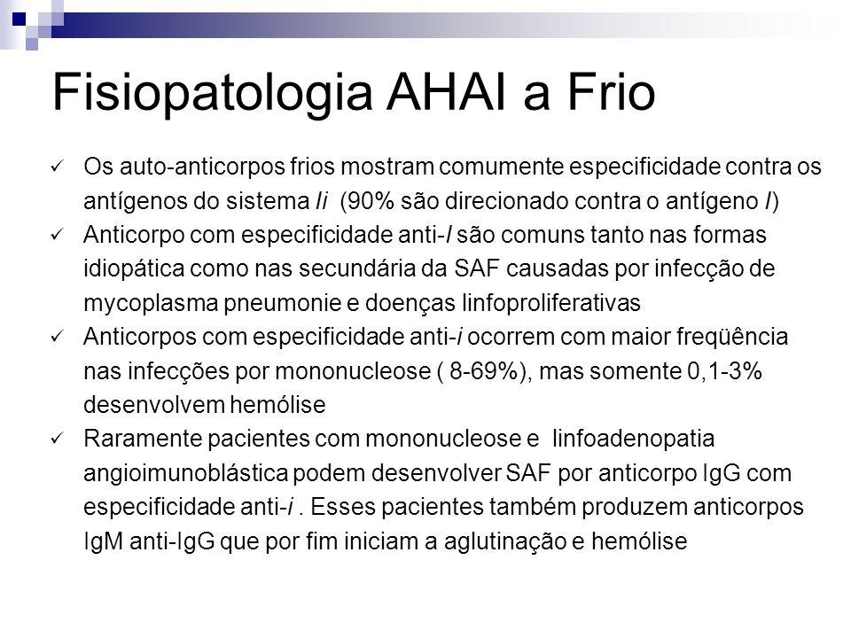 Fisiopatologia AHAI a Frio Os auto-anticorpos frios mostram comumente especificidade contra os antígenos do sistema Ii (90% são direcionado contra o antígeno I) Anticorpo com especificidade anti-I são comuns tanto nas formas idiopática como nas secundária da SAF causadas por infecção de mycoplasma pneumonie e doenças linfoproliferativas Anticorpos com especificidade anti-i ocorrem com maior freqüência nas infecções por mononucleose ( 8-69%), mas somente 0,1-3% desenvolvem hemólise Raramente pacientes com mononucleose e linfoadenopatia angioimunoblástica podem desenvolver SAF por anticorpo IgG com especificidade anti-i.