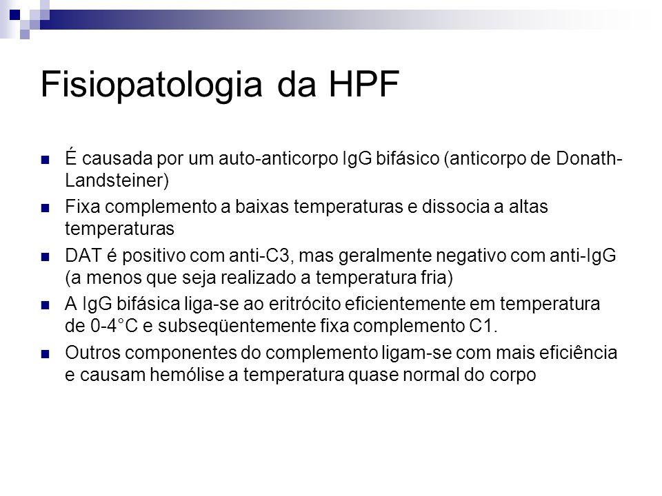 Fisiopatologia da HPF É causada por um auto-anticorpo IgG bifásico (anticorpo de Donath- Landsteiner) Fixa complemento a baixas temperaturas e dissocia a altas temperaturas DAT é positivo com anti-C3, mas geralmente negativo com anti-IgG (a menos que seja realizado a temperatura fria) A IgG bifásica liga-se ao eritrócito eficientemente em temperatura de 0-4°C e subseqüentemente fixa complemento C1.