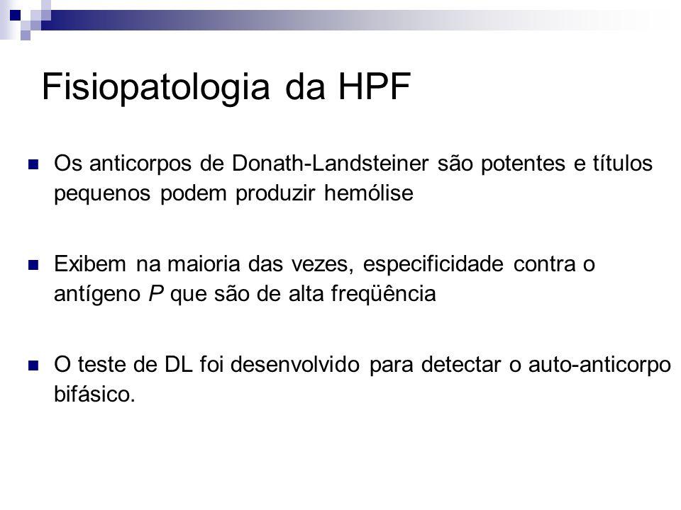 Fisiopatologia da HPF Os anticorpos de Donath-Landsteiner são potentes e títulos pequenos podem produzir hemólise Exibem na maioria das vezes, especificidade contra o antígeno P que são de alta freqüência O teste de DL foi desenvolvido para detectar o auto-anticorpo bifásico.