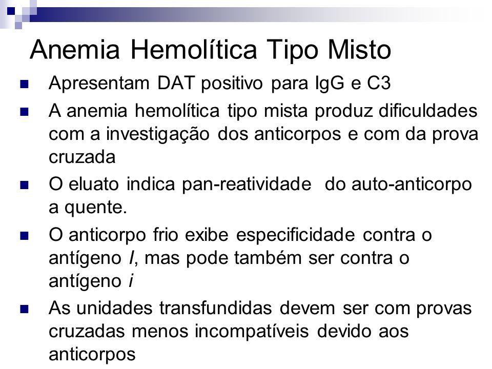 Anemia Hemolítica Tipo Misto Apresentam DAT positivo para IgG e C3 A anemia hemolítica tipo mista produz dificuldades com a investigação dos anticorpos e com da prova cruzada O eluato indica pan-reatividade do auto-anticorpo a quente.