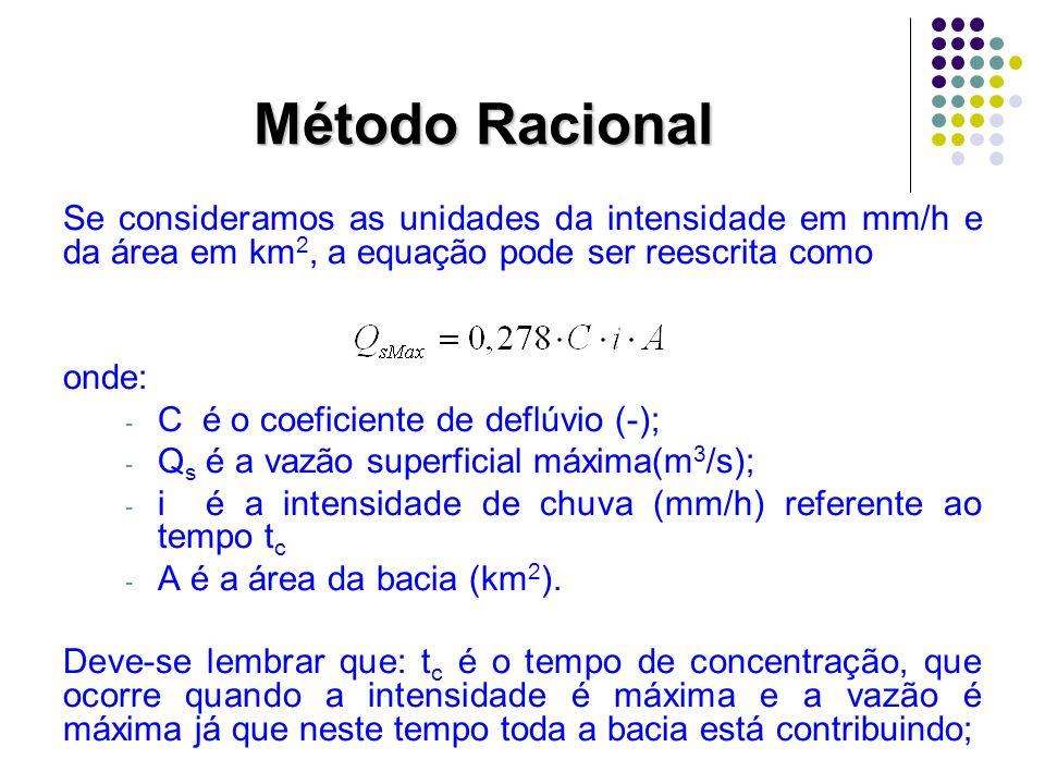 Método Racional Se consideramos as unidades da intensidade em mm/h e da área em km 2, a equação pode ser reescrita como onde: - C é o coeficiente de d