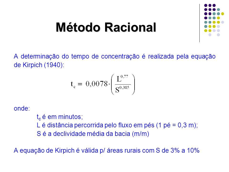 Método Racional A determinação do tempo de concentração é realizada pela equação de Kirpich (1940): onde: t c é em minutos; L é distância percorrida p