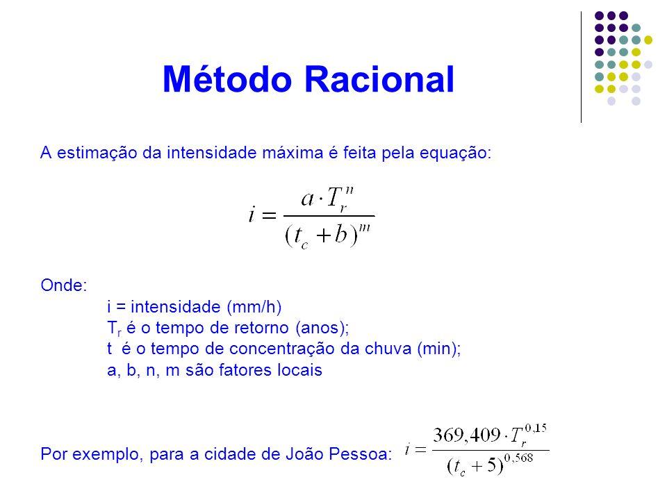Método Racional A estimação da intensidade máxima é feita pela equação: Onde: i = intensidade (mm/h) T r é o tempo de retorno (anos); t é o tempo de c