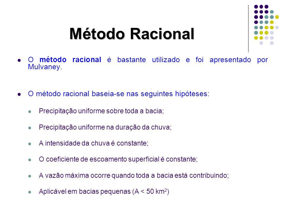 Método Racional O método racional é bastante utilizado e foi apresentado por Mulvaney. O método racional baseia-se nas seguintes hipóteses: Precipitaç