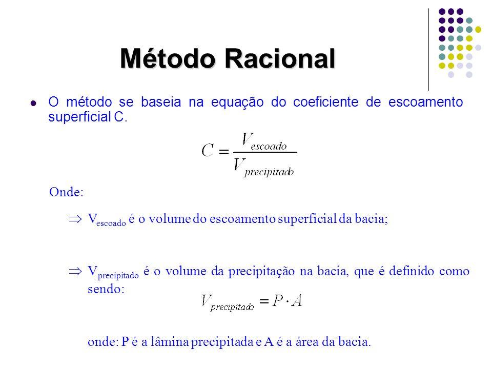 Método Racional V escoado = a área do hidrodrama Ao compararmos a área do hidrograma com a área de dois triângulos retângulos, temos que: Para pequenas bacias t b = 2t c, então substituindo na equação acima temos que: Q smax QsQs t AD tbtb t b -t c B tctc