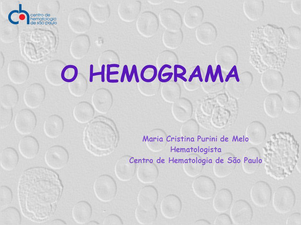 O HEMOGRAMA Maria Cristina Purini de Melo Hematologista Centro de Hematologia de São Paulo