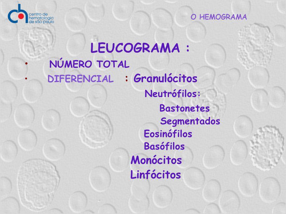 O HEMOGRAMA LEUCOGRAMA : NÚMERO TOTAL DIFERENCIAL : Granulócitos Neutrófilos: Bastonetes Segmentados Eosinófilos Basófilos Monócitos Linfócitos