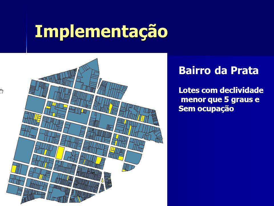 Implementação Bairro da Prata Lotes com declividade menor que 5 graus e Sem ocupação