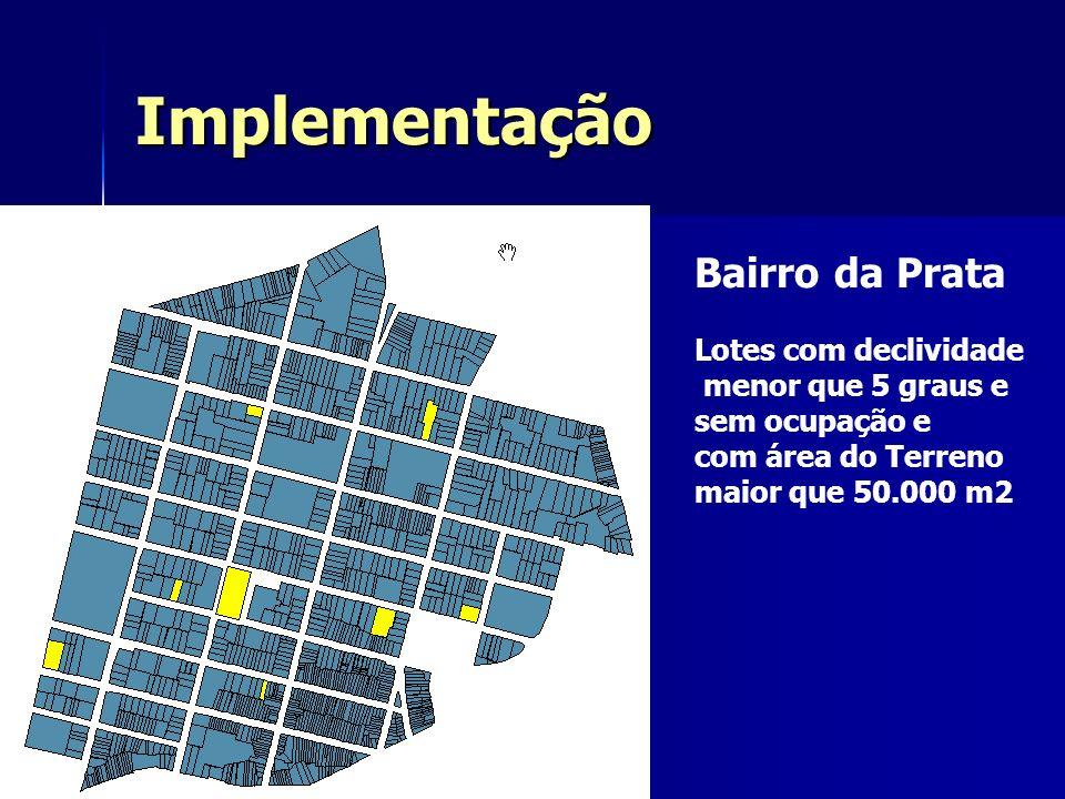 Implementação Bairro da Prata Lotes com declividade menor que 5 graus e sem ocupação e com área do Terreno maior que 50.000 m2