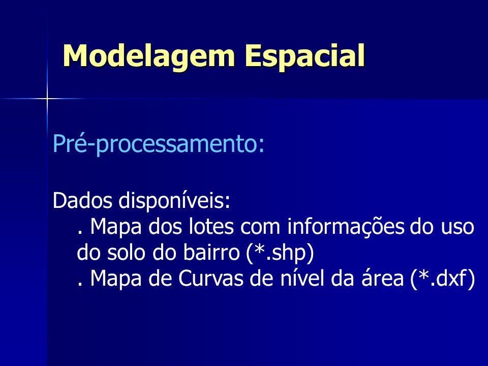 Pré-processamento: Dados disponíveis:. Mapa dos lotes com informações do uso do solo do bairro (*.shp). Mapa de Curvas de nível da área (*.dxf) Modela