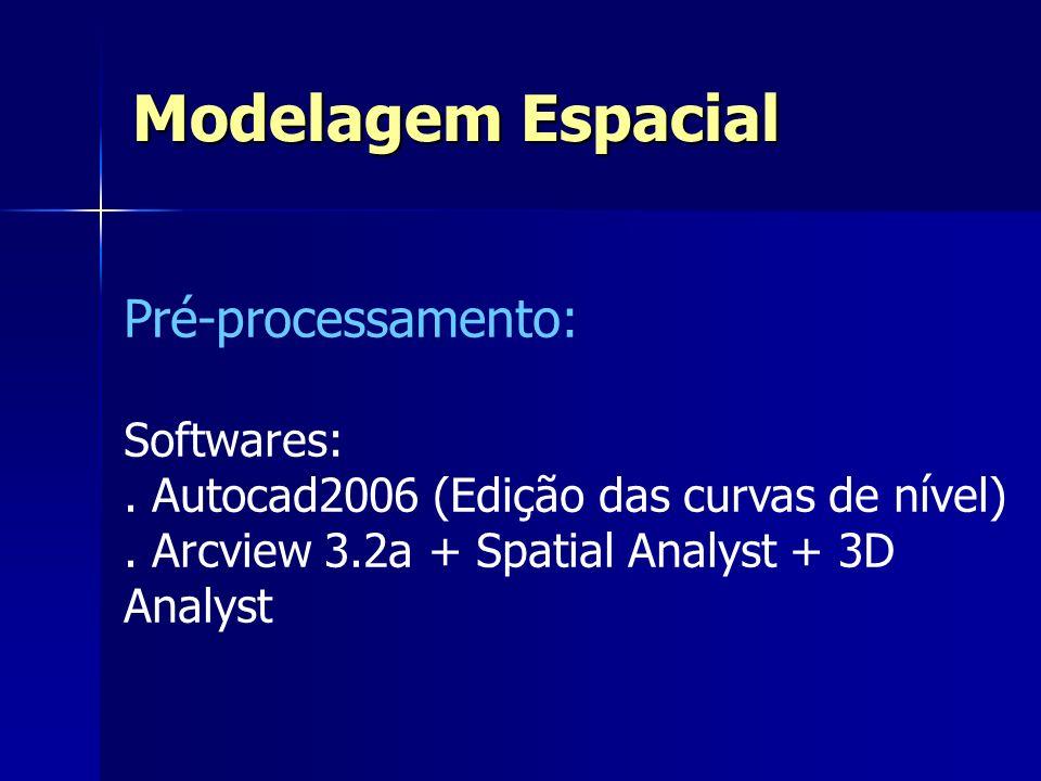 Pré-processamento: Softwares:. Autocad2006 (Edição das curvas de nível). Arcview 3.2a + Spatial Analyst + 3D Analyst Modelagem Espacial
