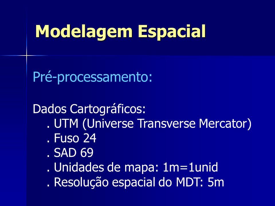 Pré-processamento: Dados Cartográficos:. UTM (Universe Transverse Mercator). Fuso 24. SAD 69. Unidades de mapa: 1m=1unid. Resolução espacial do MDT: 5