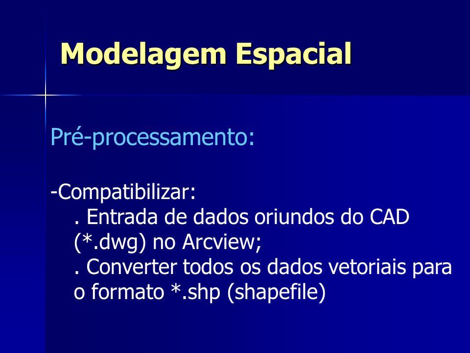 Pré-processamento: -Compatibilizar:. Entrada de dados oriundos do CAD (*.dwg) no Arcview;. Converter todos os dados vetoriais para o formato *.shp (sh