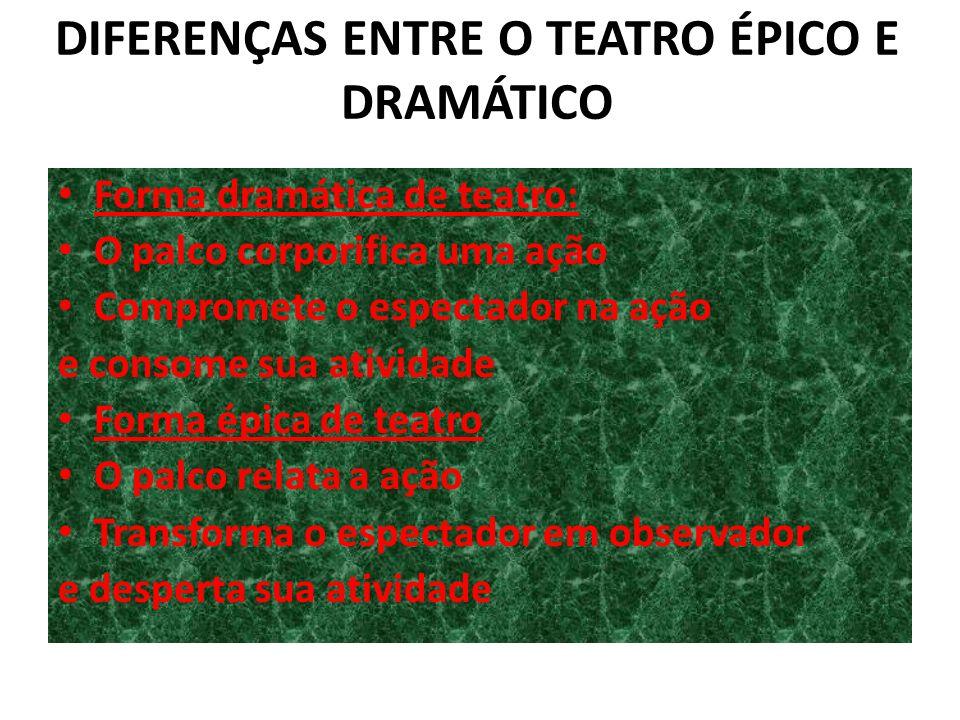 DIFERENÇAS ENTRE O TEATRO ÉPICO E DRAMÁTICO Forma dramática de teatro: O palco corporifica uma ação Compromete o espectador na ação e consome sua ativ