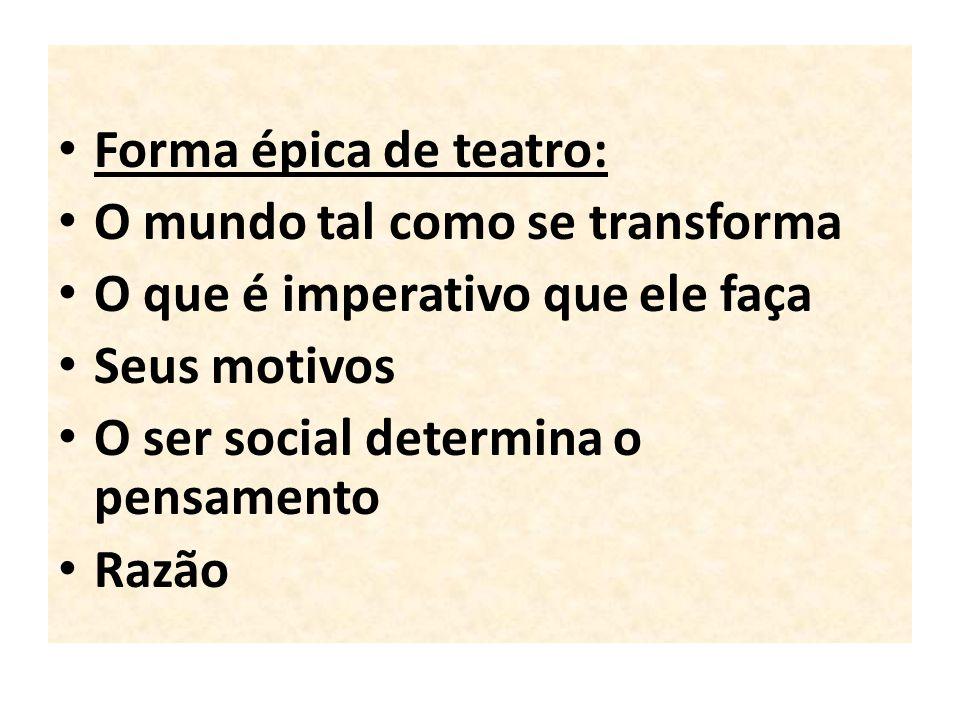 Forma épica de teatro: O mundo tal como se transforma O que é imperativo que ele faça Seus motivos O ser social determina o pensamento Razão