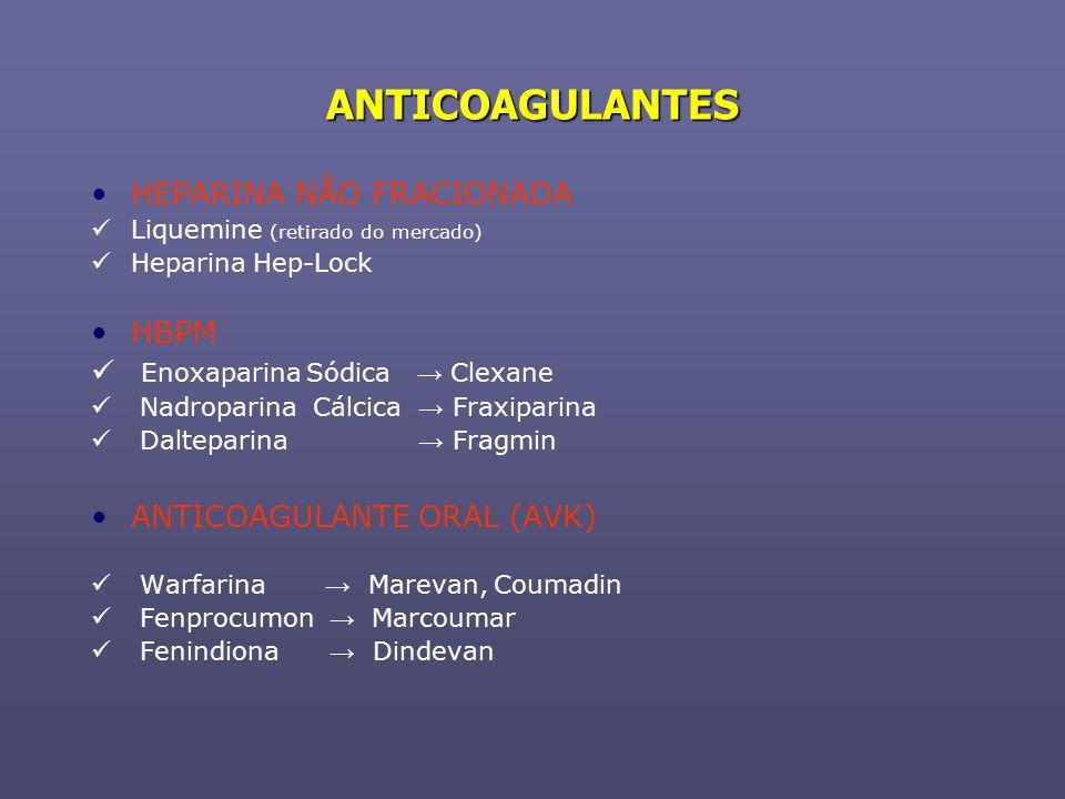 ANTICOAGULANTES HEPARINA NÃO FRACIONADA Liquemine (retirado do mercado) Heparina Hep-Lock HBPM Enoxaparina Sódica Clexane Nadroparina Cálcica Fraxipar