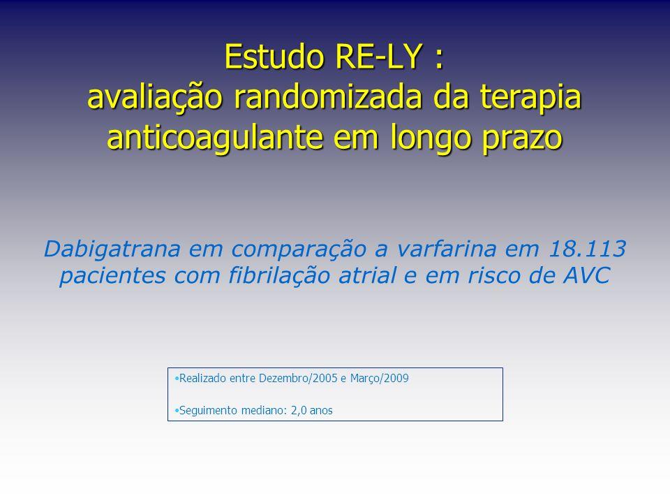 Estudo RE-LY : avaliação randomizada da terapia anticoagulante em longo prazo Dabigatrana em comparação a varfarina em 18.113 pacientes com fibrilação