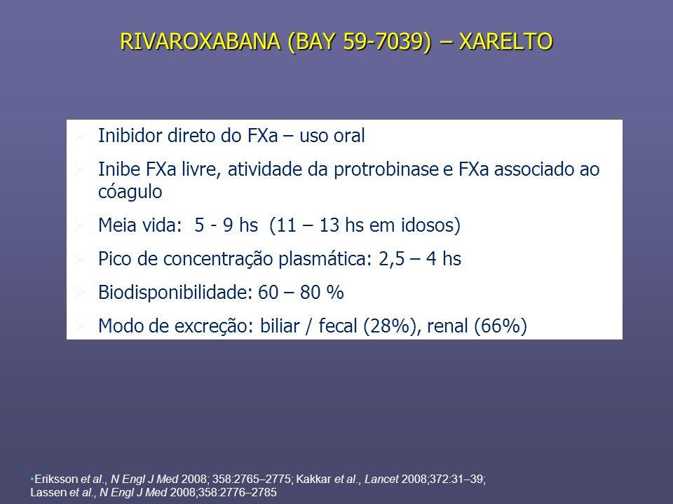RIVAROXABANA (BAY 59-7039) – XARELTO Eriksson et al., N Engl J Med 2008; 358:2765–2775; Kakkar et al., Lancet 2008;372:31–39; Lassen et al., N Engl J