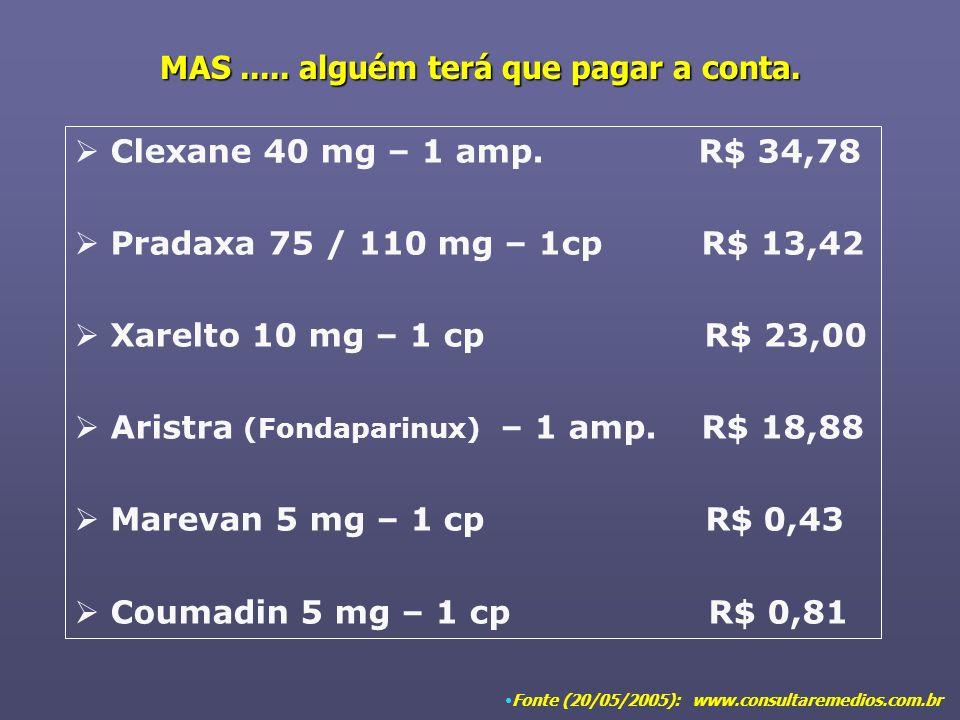 MAS..... alguém terá que pagar a conta. Clexane 40 mg – 1 amp. R$ 34,78 Pradaxa 75 / 110 mg – 1cp R$ 13,42 Xarelto 10 mg – 1 cp R$ 23,00 Aristra (Fond