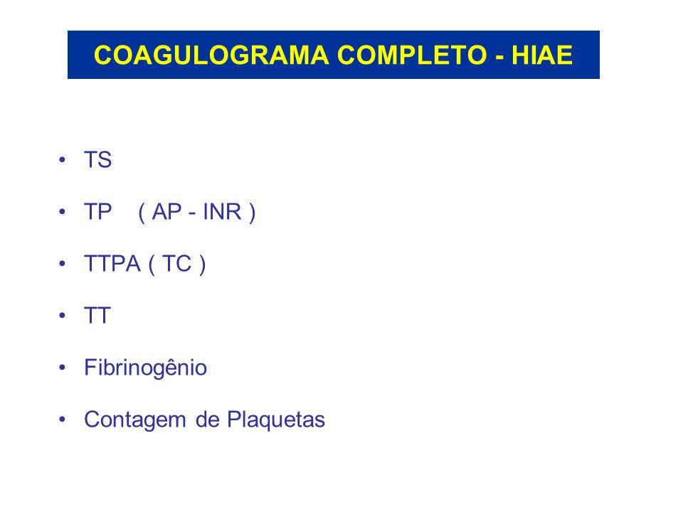 COAGULOGRAMA COMPLETO - HIAE TS TP ( AP - INR ) TTPA ( TC ) TT Fibrinogênio Contagem de Plaquetas