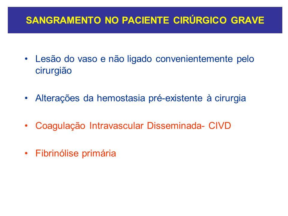 SANGRAMENTO NO PACIENTE CIRÚRGICO GRAVE Lesão do vaso e não ligado convenientemente pelo cirurgião Alterações da hemostasia pré-existente à cirurgia C