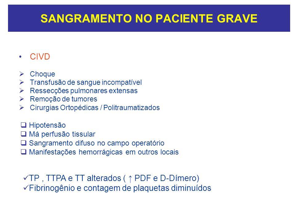 SANGRAMENTO NO PACIENTE GRAVE CIVD Choque Transfusão de sangue incompatível Ressecções pulmonares extensas Remoção de tumores Cirurgias Ortopédicas /