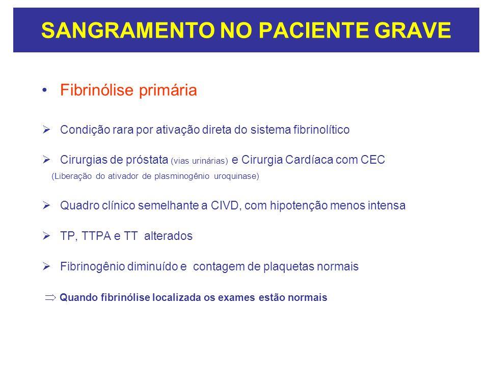 SANGRAMENTO NO PACIENTE GRAVE Fibrinólise primária Condição rara por ativação direta do sistema fibrinolítico Cirurgias de próstata (vias urinárias) e