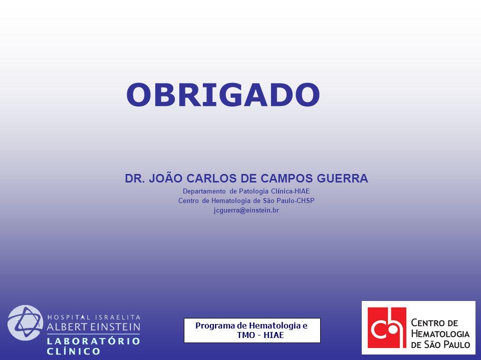 DR. JOÃO CARLOS DE CAMPOS GUERRA Departamento de Patologia Cl í nica-HIAE Centro de Hematologia de São Paulo-CHSP jcguerra@einstein.br OBRIGADO Progra