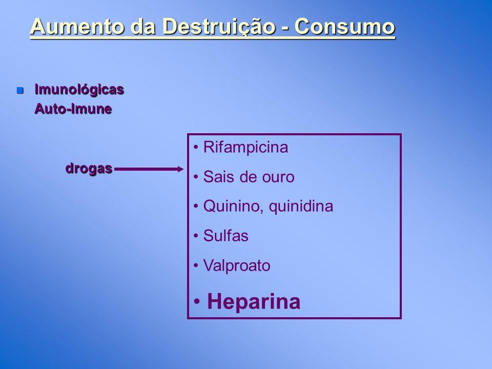 Aumento da Destruição - Consumo n Imunológicas Auto-Imunedrogas Rifampicina Sais de ouro Quinino, quinidina Sulfas Valproato Heparina